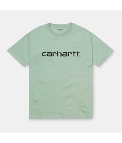 CARHARTT SCRIPT T-SHIRT FROSTED GREEN BLACK